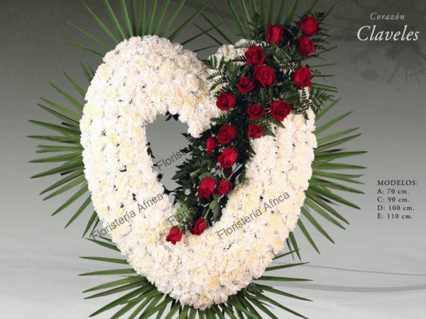 Corazón floral funerario de claveles