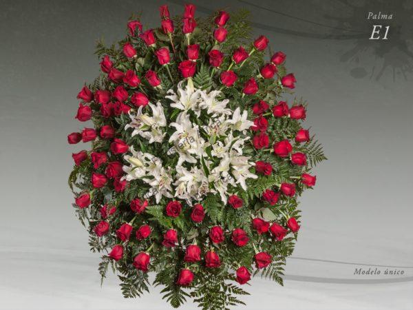 Palma floral funeraria con rosas y lilium modelo E1