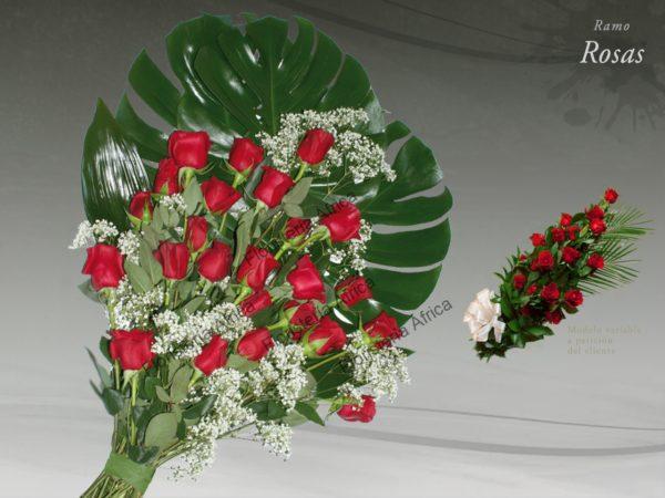 Ramo funerario de rosas y paniculata